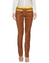 Classic Style Designer Belted Party Pant Women's Genuine Soft Skin Suede Pants