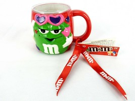 M&M Candies Porcelain Mug, Green Female on Red Surface, Heart Glasses, P... - $9.75