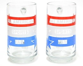 Avon 1983 Set of 2 Mug Glass All American Sports Patriotic Red White Blu... - $24.77