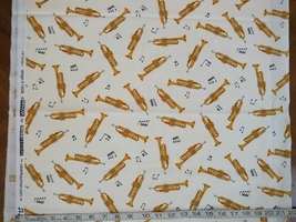 1/2 yd Music/Trumpet horns instruments on ivory quilt fabric -free shipping image 4