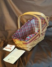 Longaberger 1991 RED YULETIDE TRADITIONS Sleigh Basket Red Plaid Liner P... - $26.00