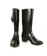 Chanel Black Rain Boots with two Camelia flowers Wellingtons wellies sz ... - $576.18