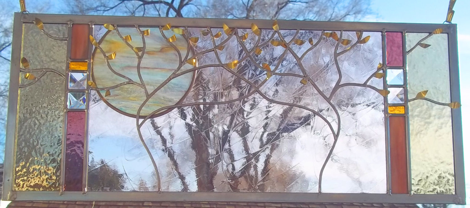 SALE Wedding Stained Glass Window Panel personalized wedding anniversary trees