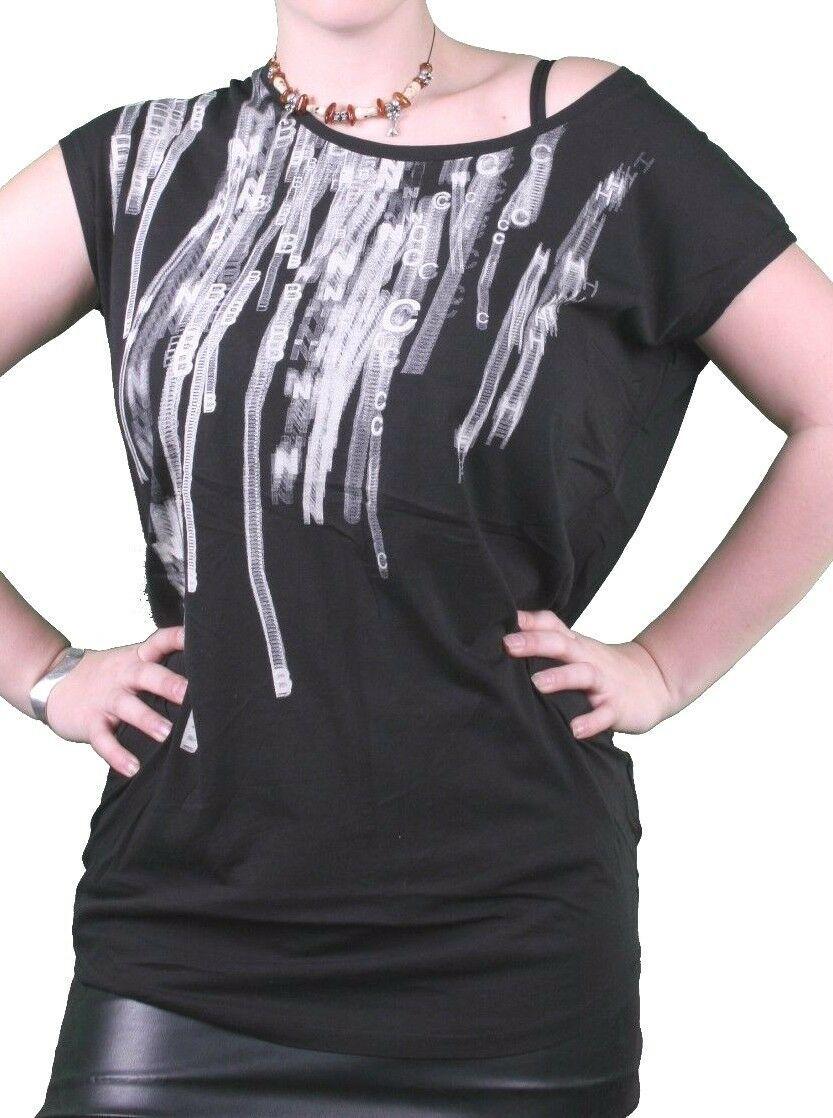 Bench UK Femmes Noir Sterling Casquette Col Rond Manche T-Shirt BLGA2369 Nwt