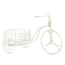 Decorative Planters, Antique White Iron Bicycle Large Garden Planters - $34.99
