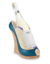 """Wild Eye 9"""" Fashion Avenue Women's Blue Wave Wedge Shoe Wine Bottle Holder - $32.66"""