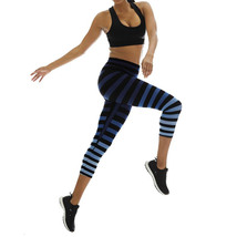 K-Deer Women's Blue/Black/Grey Emme Stripe Capri Length Leggings, XS-4X image 2