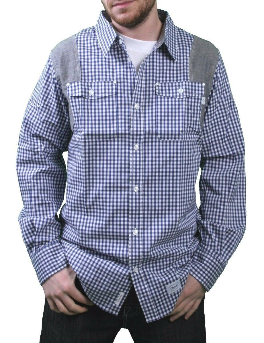 Orisue Bleu Blanc Vichy Pittsburgh Manches Longues Tissé Bouton Bas T-Shirt Nwt