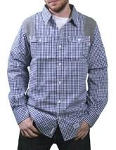 Orisue Bleu Blanc Vichy Pittsburgh Manches Longues Tissé Bouton Bas T-Shirt Nwt image 1