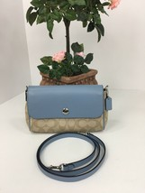 Coach Crossbody Bag Reversible Signature F59534 Khaki Pale Blue White B21 - $98.95