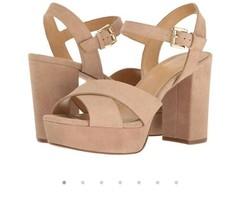 Women's Shoes Michael Kors DIVIA Platform Heels Sandals Suede Dark Khaki Size 10 - $64.60