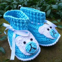 Handmade Teddy bear booties Hand crochet blue baby shoes 6-9 m Unisex sl... - $8.86