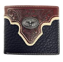 Western Genuine Leather Floral Tooled Longhorn Concho Mens Short Bifold ... - $24.99
