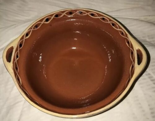 "Pottery Barn Mixing Bowl Handcrafted In Portugal 8.25"" Diameter Coral Cream Vtg image 2"