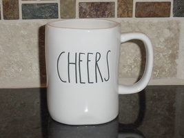 Rae Dunn CHEERS Rustic Mug, Ivory with Black Letters, New! - $11.00