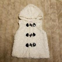 Little Lass Toddler Girl  Hooded Vest 3T White Silver Sparkle Fuzzy Soft... - $11.99
