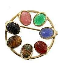 Vintage Gf 12k Gold Filled Tiger's Eye Carnelian Scarab Circle Pin Delic... - $35.99