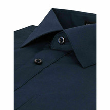 Omega Italy Men's Long Sleeve Solid Navy Button Up Dress Shirt - 3XL image 2