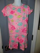 CARTER'S Bright PInk Fish Print Pajama Set Size 5 Girl's EUC - $16.02