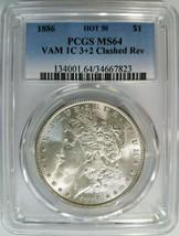 1886 Silver Morgan Dollar PCGS MS 64 Vam 1C Clashed Reverse Mint Error H... - $214.99