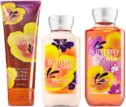 Bath & Body Works Butterfly Flower Shower Gel Body Lotion & Body Cream Set - $34.00