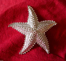 "Starfish Pin Textured Figural Star Fish 2 1/4"" Silver Tone Brooch VTG  - $19.76"