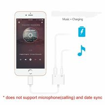 iPhone 7 Adapter 3.5mm Aux Jack Headphone Earphones Audio Splitter White Cable image 5