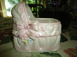 Vintage RUBENS Made Japan Baby Bassinet Cradle Porcelain Planter Ornamen... - $86.85