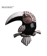 Ic crystals eagle brooches for man kids cool black bird broches antique gold lapel pin thumbtall