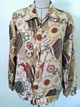 Vintage silk bomber jacket 90's beige maroon horse bit gold chain tassel... - $39.59