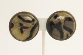 VINTAGE Jewelry ZEBRA PATTERN GEMSTONE & BRASS CLIP EARRINGS SIGNED NATURE - $20.00