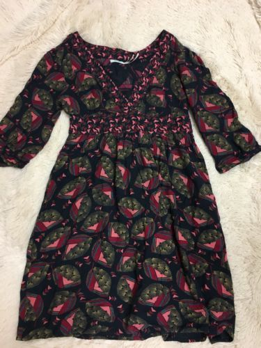 Primary image for Kimchi Blue Women's Dress Size S Navy Pink 3/4 Sleeve V-Neck