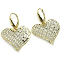 18K YELLOW WHITE GOLD PENDANT EARRINGS ONDULATE WORKED HEART, SHINY, STRIPED image 2