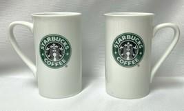 2 Starbucks 2006 Mugs White with Green Mermaid Siren 12 Ounces Size Each... - $31.49
