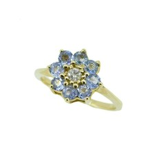 14k Yellow Gold Flower Genuine Natural Tanzanite Ring with Diamond (#J2051) - $325.00