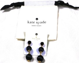 Kate Spade Linear Graduated Silk Ball Drop Earrings Bag Included - Black - $39.99