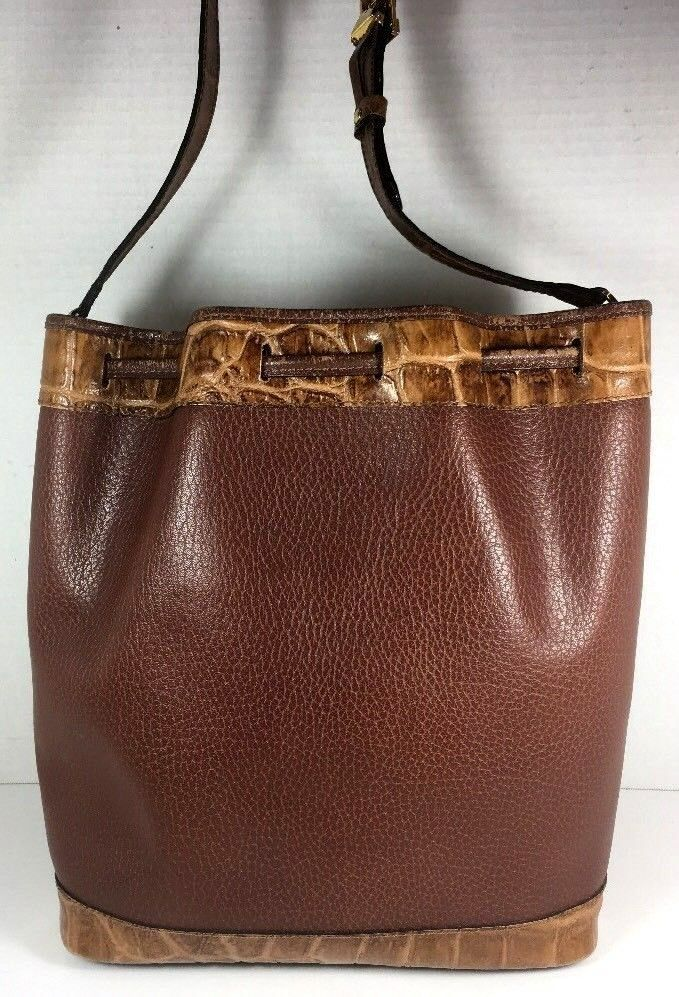 Francois Marot Paris Vintage Brown Leather with Reptile Print Trim Bucket Bag