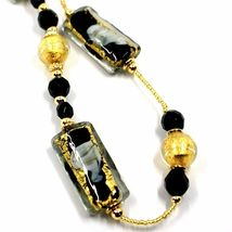 LONG NECKLACE BLACK MURANO GLASS RECTANGLE TUBE, SPHERE, GOLD LEAF, ITALY MADE image 2