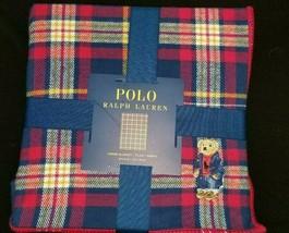 Polo Ralph Lauren Bear throw blanket  NEW PLaid 50 X 70 navy - £56.13 GBP