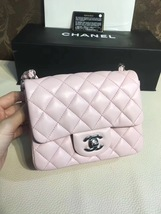 Authentic Chanel Lavender Quilted Lambskin Square Mini Classic Flap Bag SHW NEW image 2