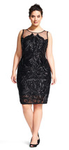 Adrianna Papell Sequin Embroidered Cocktail Illusion Neck Dress  Plus  20W - $147.51