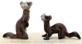 Hagen-Renaker Miniature Ceramic Figurine Ferret Standing & Sitting Set of 2