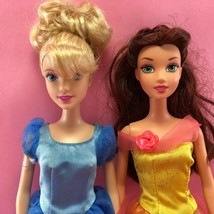 Barbie LOT OF 2 DISNEY PRINCESS BARBIE DOLLS Cinderella & Belle w Dresse... - $7.00