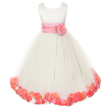 Ivory Satin Bodice Layers Tulle Skirt Coral Flower Ribbon Brooch and Petals - $48.00