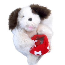 Build a Bear puppy dog holding red dish bowl brown spots shaggy fluffy p... - $43.77