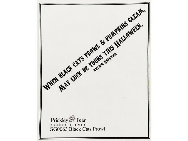 """Prickley Pear """"Black Cats Prowl"""" Sentiment Unmounted Rubber Stamp HALLOWEEN"""