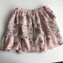 Gap Kids Girls Skirt Pink Size 8 Medium Floral Tiered Ruffle Elastic Waist  - $20.43