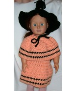 American Girl Doll Halloween Costume, Handmade Crochet, Hat, Skirt, Poncho - $25.00