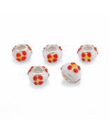 Charms 5 pcs/lot silver plated glass beads fit pandora bead bracelet ban... - $14.99