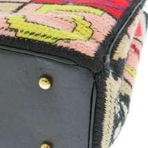 CHANEL Icon Chain Shoulder Bag Leather Knit Black Multi Color CC Logo Authentic image 7